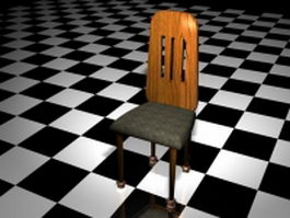 Rustic dining room chair 3d model preview