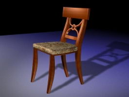 Old wood dining chair 3d preview
