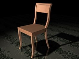 Solid wood dining chair 3d preview