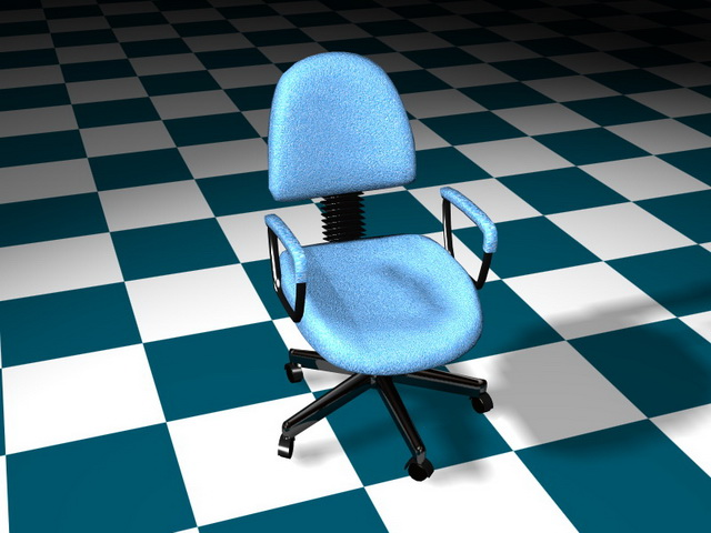 Blue office staff chair 3d rendering