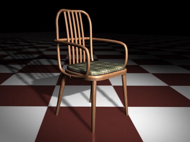 Antique wood dining chair 3d rendering