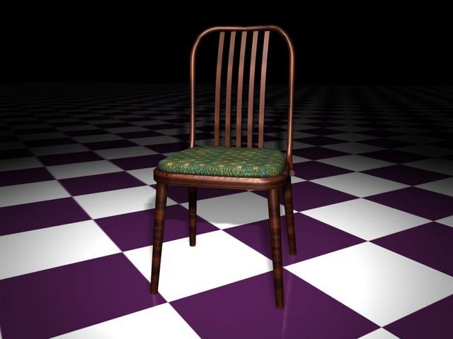 Vintage wood dining chair 3d rendering