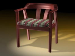 Wood tub dining chair 3d preview