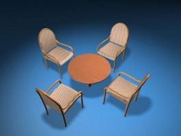 Outdoor dining furniture sets 3d model preview