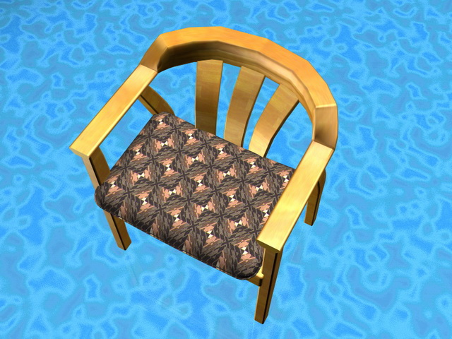 Yellow wood dining chair 3d rendering
