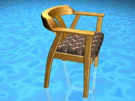 Yellow wood dining chair 3d preview