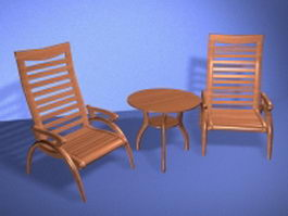 Accent table and chairs set 3d preview