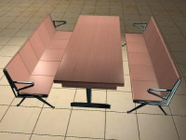 Cafeteria table with benches 3d preview