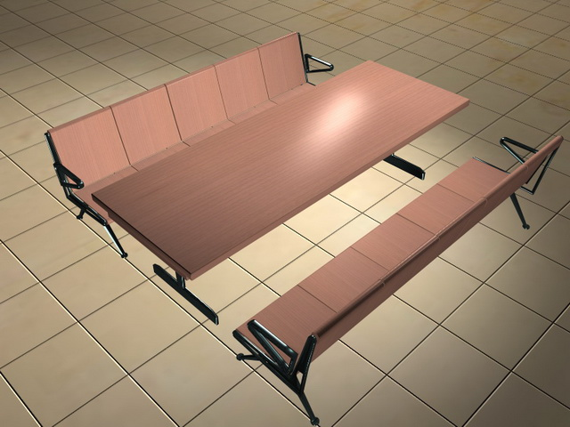 Cafeteria table with benches 3d rendering