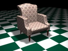 Living room accent chair 3d model preview