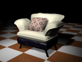 Upholstered sofa chair with pillow 3d preview
