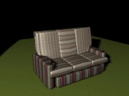 Red striped sofa 3d preview