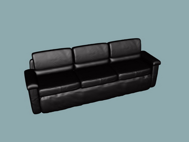 Black leather sofa 3d rendering