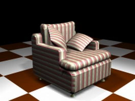 Red striped sofa chair 3d preview