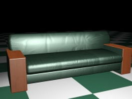 Green leather couch sofa 3d preview