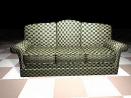 Three cushion fabric sofa 3d preview