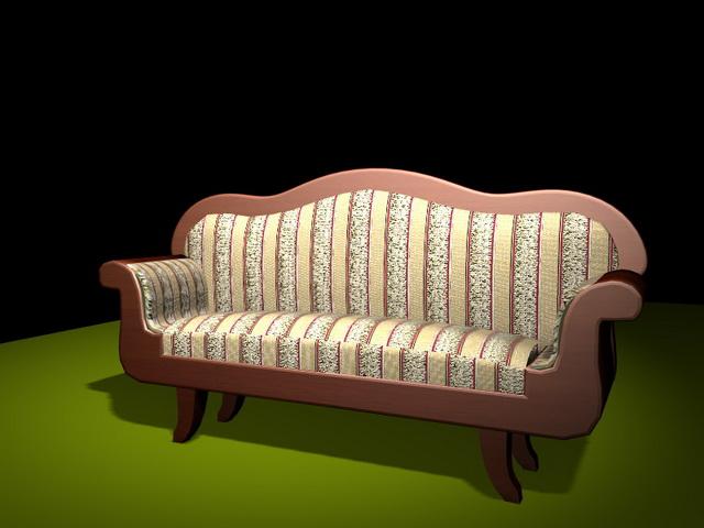 Antique Victorian settee 3d rendering