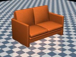 Orange loveseat 3d model preview