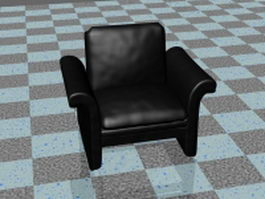 Black leather club chair 3d preview