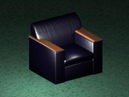 Dark blue club chair 3d preview