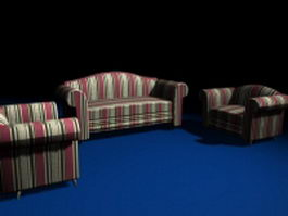 Striped sofas living room furniture 3d preview