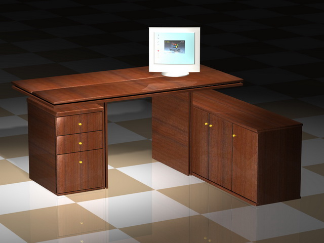 Office desk and computer 3d rendering