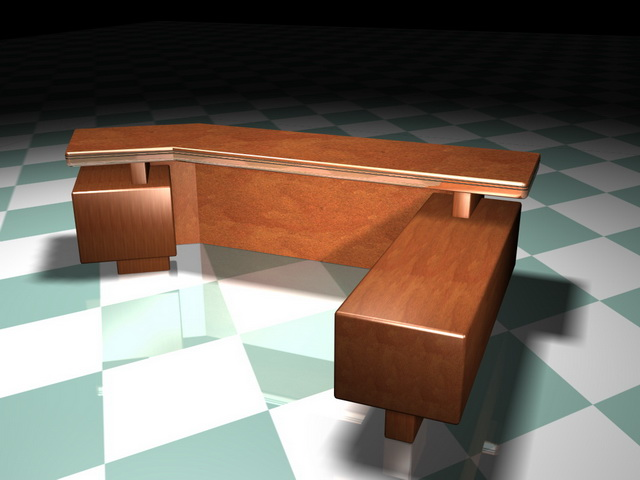 Executive office desk 3d rendering