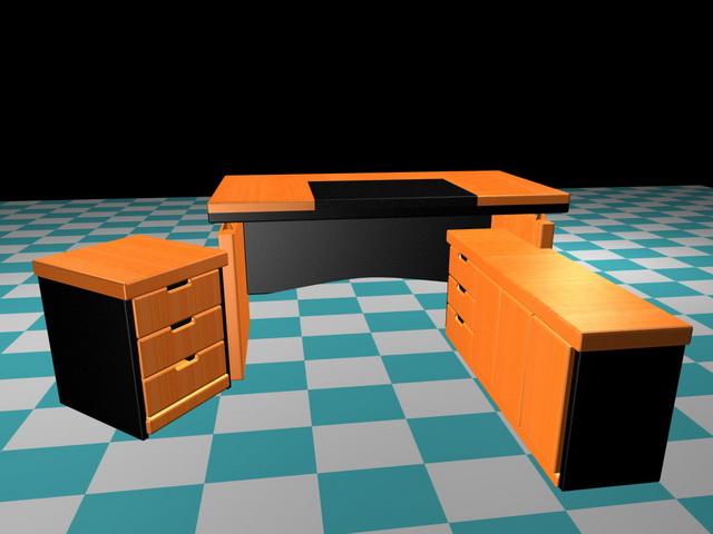 Executive office desk sets 3d rendering