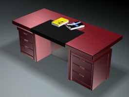 Executive desk and book 3d preview