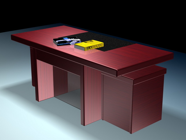 Executive desk and book 3d rendering