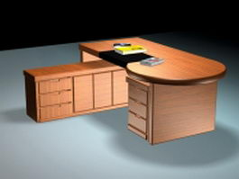 Office desk with file cabinets 3d preview