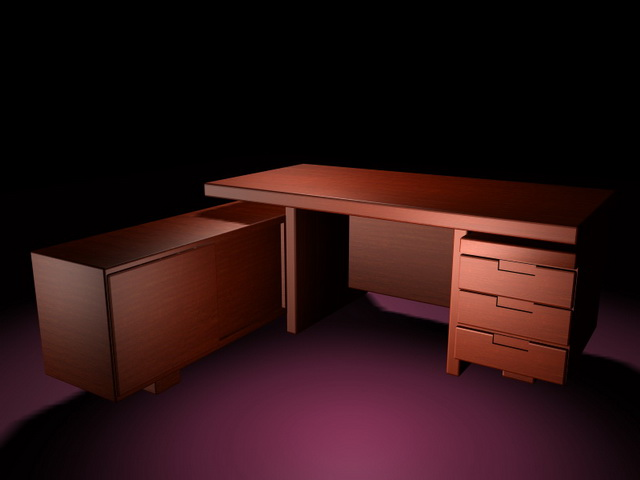 Executive desk with attached cabinet 3d rendering