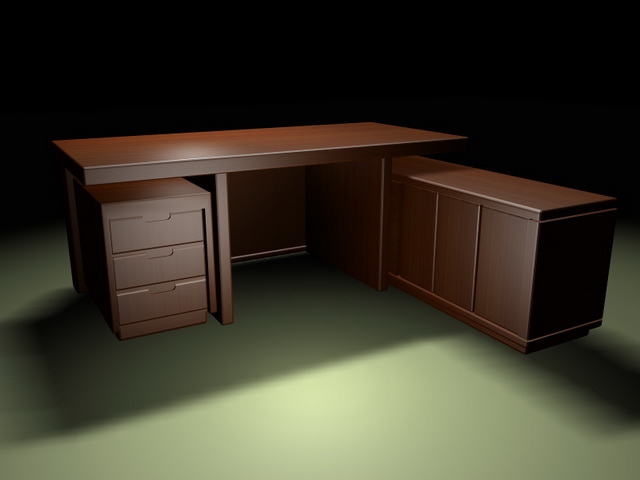 Executive desk with storage cabinets 3d rendering