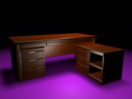 Modern executive desk furniture set 3d preview