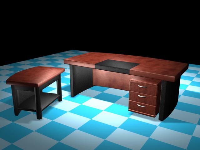 Executive desk furniture sets 3d rendering