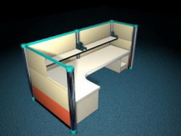 Cubicle partition with desk 3d preview