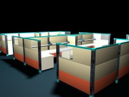 Office cubicles and partitions systems 3d preview