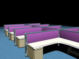 Office cubicle furniture systems 3d preview