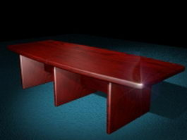 Boat shaped conference room table 3d preview