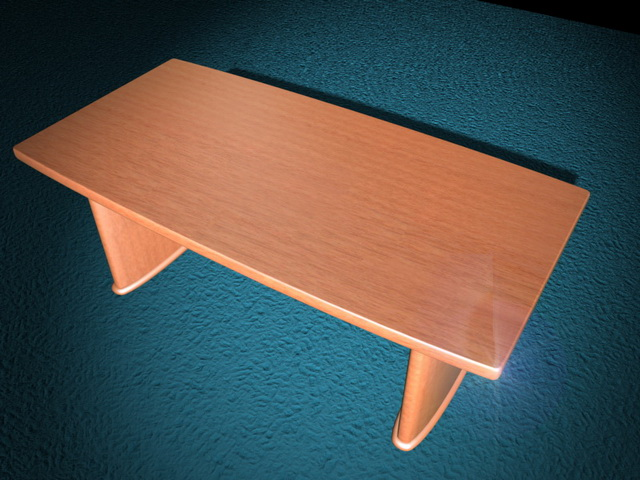 Wood conference table 3d rendering