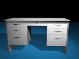 White office desk 3d preview