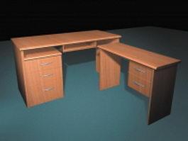 Staff office desk 3d model preview