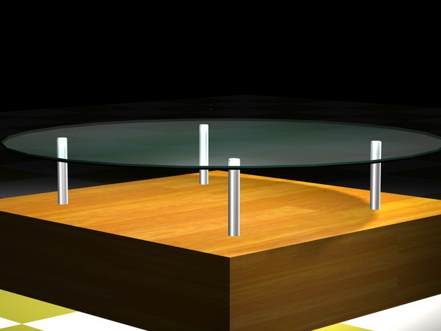 Round glass top coffee table with wood base 3d rendering