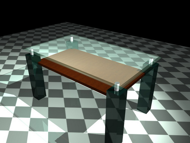 Small glass coffee table 3d rendering