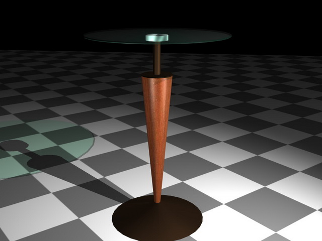 Glass pedestal coffee table 3d rendering
