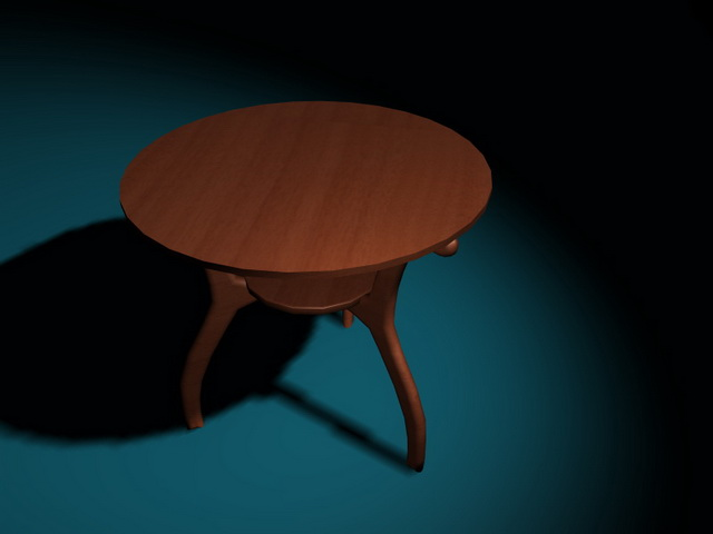Round wood coffee table 3d rendering