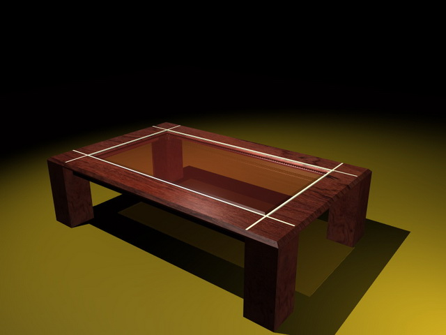 Glass display coffee table 3d rendering