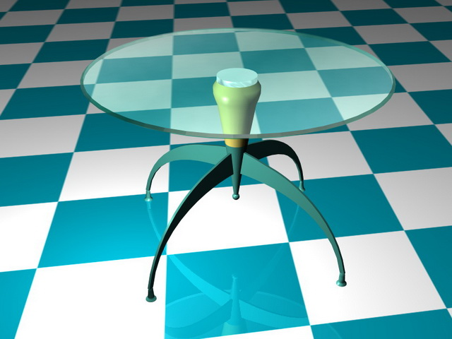 Claw foot pedestal coffee table 3d rendering