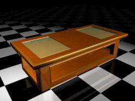 Glass top display coffee table 3d preview