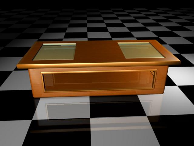 Glass top display coffee table 3d rendering